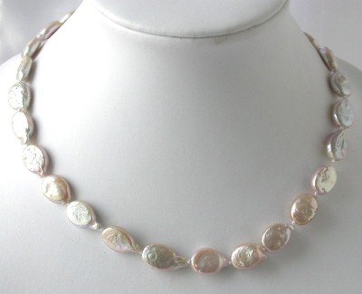 "16""""AA 10*12mm pink melon seed biwa pearl necklace"