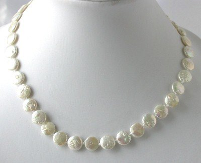 "16""""AA 10mm white coin biwa pearl necklace"