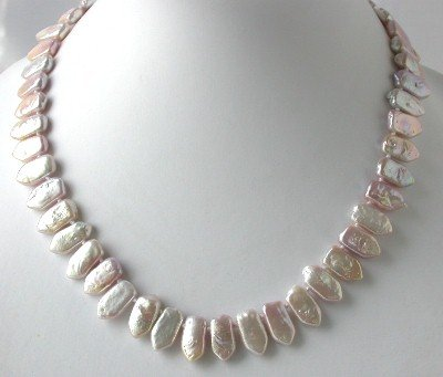 "16""""AA 9*12mm pink biwa pearl necklace"