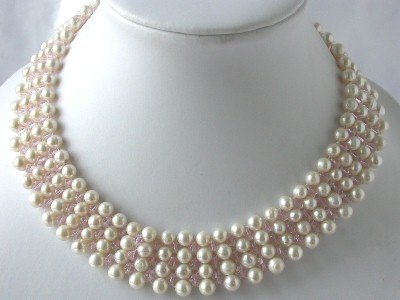 "16"""" 6-7mm hand knotted white pearl crystal necklace"