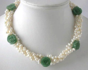 "16"""" 3-rows white pearl carved jade necklace"