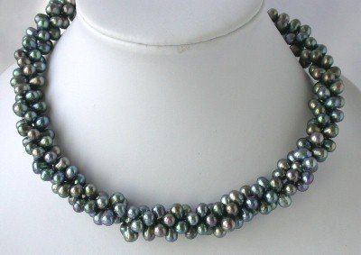 "16"""" 3-rows 5*7mm peacock FW pearl necklace"