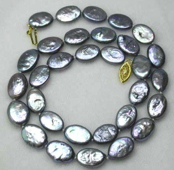 "17"""" 10*12mm black biwa pearl necklace"
