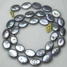 "17"""" 10*12mm black biwa pearl necklace"