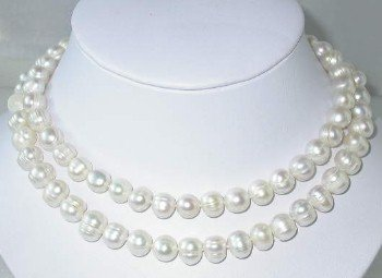 "33"""" 9.5-10.5mm white FW pearl necklace"