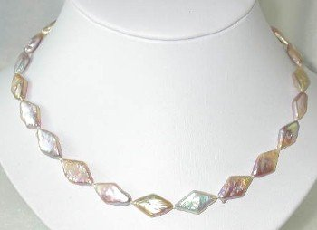 "Graceful 17"""" 10*18mm pink rhombus biwa pearl"