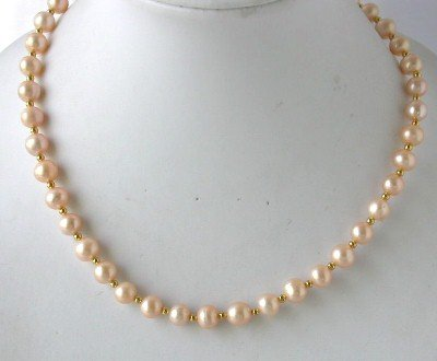 "18"""" 8mm lustrous pink pearl necklace"
