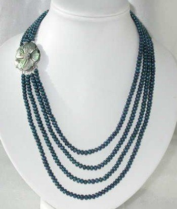 """19""""""""-23"""""""" 4-rows 5-6mm dark blue pearl cameo clasp"""