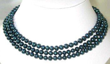 "Lustrous 50"""" 7-8mm dark blue pearl necklace"