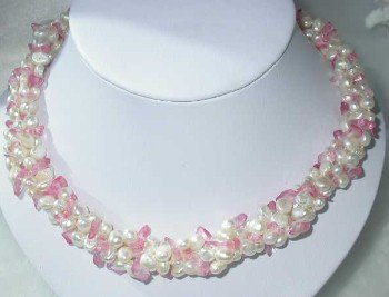 "17"""" 3-rows white pearl pink crystal necklace"
