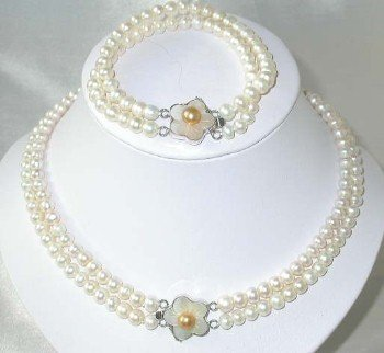 "17""""-18""""/7.5"""" 6-7mm white pearl shell clasp set"