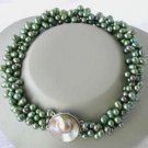 """16"""""""" 3-rows green pearl mabe clasp necklace"""