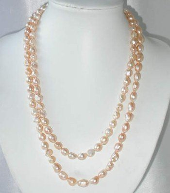 "Baroque 47"""" 10-11mm pink FW pearl necklace"