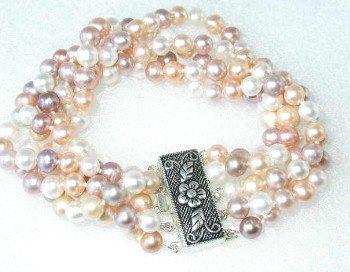 """Grade A  5-6mm 7.5"""""""" multicolor pearl &silver clasp"""