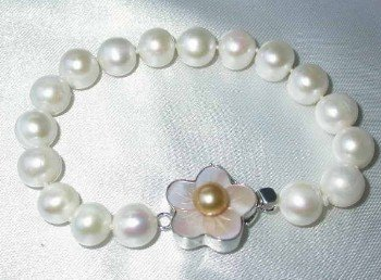 "Grade AA 7.5"""" 10mm white pearl &silver clasp bracelet"
