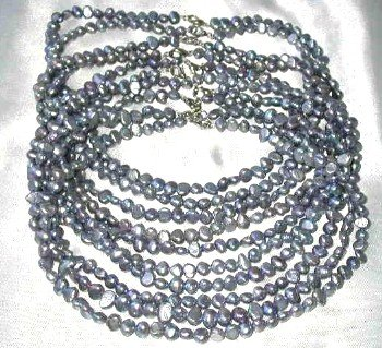 Wholesale 10 pcs 6-7mm gray pearl necklace