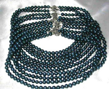 Wholesale 5 pcs 6-7mm dark blue round pearl necklace