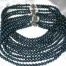 Wholesale 5 pcs 6-7mm dark blue round pearl necklace