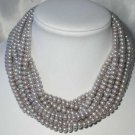 "Wholesale 5 pcs 16"""" 6-7mm gray pearl necklace"