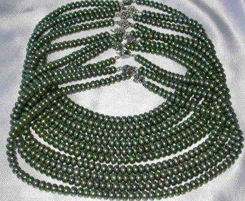 "Wholesale 5 pcs 16"""" 6-7mm green pearl necklace"