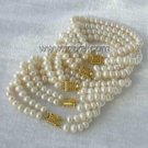 Wholesale 5 pieces 6-7mm double white pearl bracelet