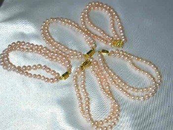 Wholesale 5 pieces 6-7mm 2-rows pink pearl bracelet
