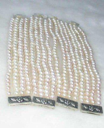 "Wholesale 4 pcs. 7.5"""" white pearl silver clasp bracelet"