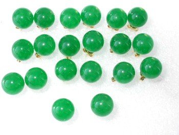 Wholesale natural 10 pairs 10mm green round jade earring