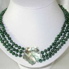 """Lustrous 16""""""""-18"""""""" 3-rows 6-7mm green pearl shell clasp"""