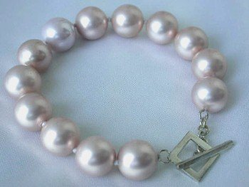 "7.5"""" 12mm pink sea shell pearl silver clasp bracelet"