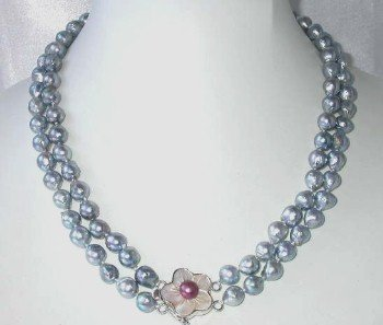 "Barpque 17""""-18"""" 7.5-8mm gray sea pearl shell clasp"