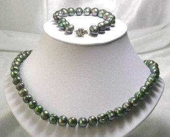 "17""""/7.5"""" 9-10mm green pearl necklace set"