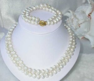 """17""""""""-18"""""""" double 8-9mm white pearl necklace set"""