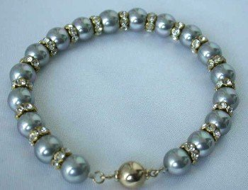 "7.5"""" 8mm gray sea shell pearl rhinestone bracelet"