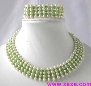 "16""""/7.5"""" handmade white pearl green crystal necklace set"