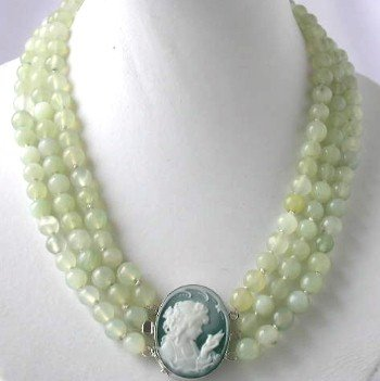 "17""""-19"""" 8mm 3-rows green jade cameo agate clasp"