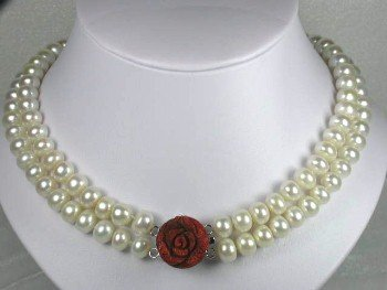 "17""""-18"""" brand new 10-11mm white pearl rose coral clasp"