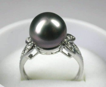 RARE 14K gold 7.5# 11.5mm blackTahitian pearl ring
