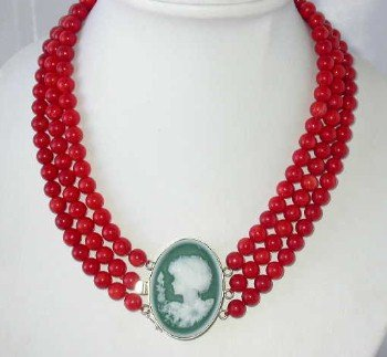 "17""""-19"""" 3-rows 8mm red round coral agate clasp"