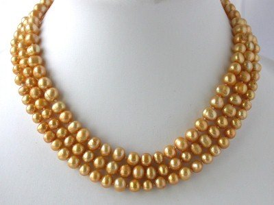 "48"""" 6-7mm yellow pearl necklace"