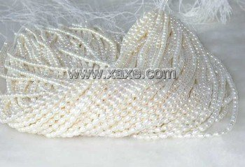 "wholesale 4-4.5mm 16"""" white pearl necklace strings"