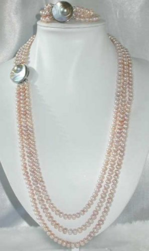 """26""""""""-30"""""""" 7-8m pink pearl mabe clasp necklace set"""