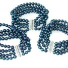 Wholesale 3 pcs A 4-rows dark blue pearl bracelet