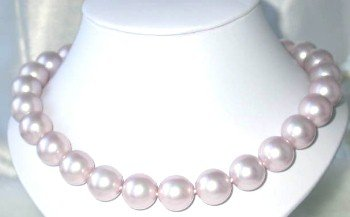Exquisite 16mm pink Sea Shell Pearl&silver clasp Necklace