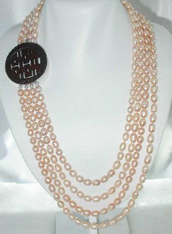"26""""-32"""" 8-10mm pink pearl-925 silver carved agate clasp"