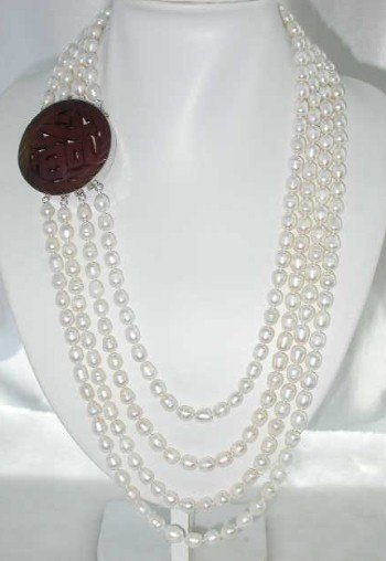 "26""""-32"""" 8-10mm white pearl-925 silver carved agate clasp"