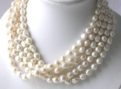 Wholesale 5 pcs baroque 10-11mm white pearl necklace