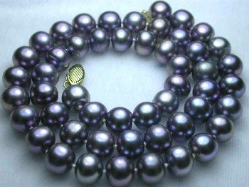 "14K 17"""" lustrous 8-9mm black pearl necklace"