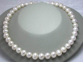 "GENUINE 17"""" 11MM WHITE FW PEARL NECKLACE"