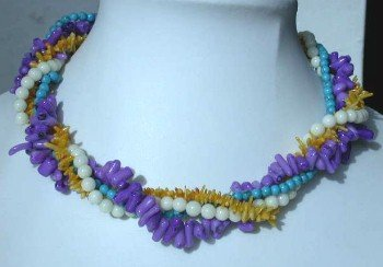 "16"""" 4-rows multicolor branch coral necklace"